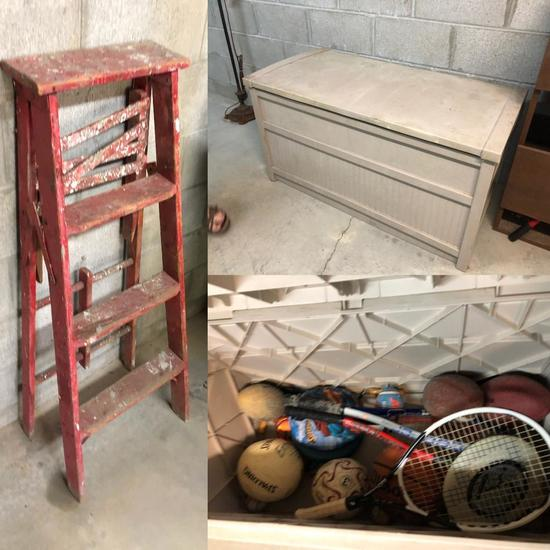 4ft Step Ladder, Plastic Deck Box w/ Contents of Sporting Equipment