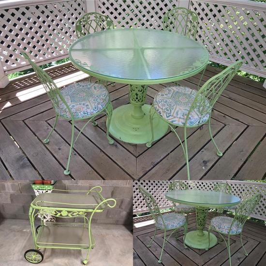 Wrought Iron Green Patio Table & 4 Chairs, Matching Drink Cart