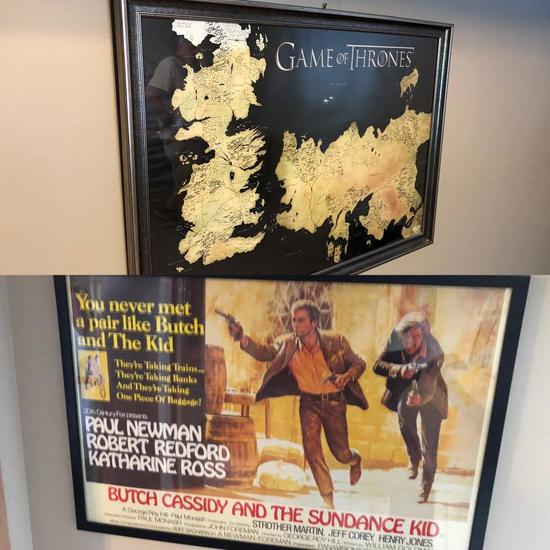 Framed Movie Poster & Game of Thrones Poster, Butch Cassidy & Sundance Kid