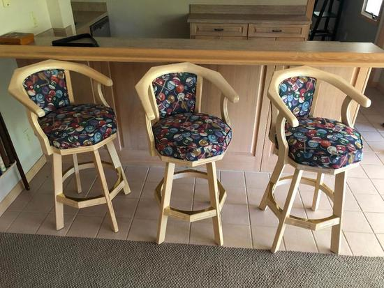 Lot of 3 Swivel Billiards Bar Stools, Pool Motif Fabric