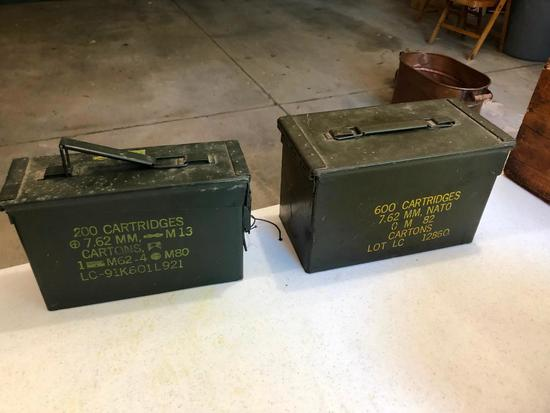 Lot of 2 Ammo Cans, 200 & 600 Cartridges 7.62mm