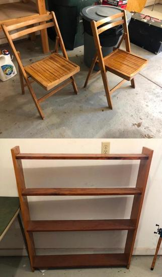 Wooden Folding Chairs, Bookshelf