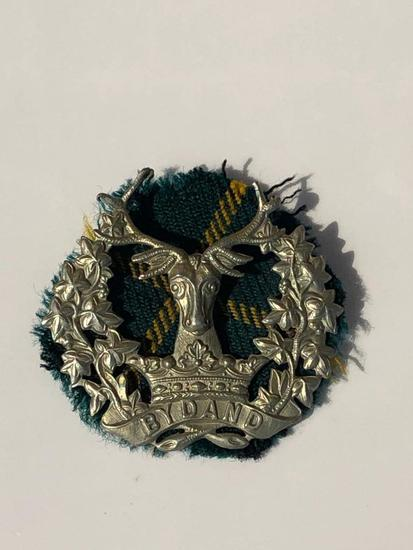 WWII Gordon Highlanders Badge, Worn During WWII & Orig Piece of Tartan That was Worn with the Badge