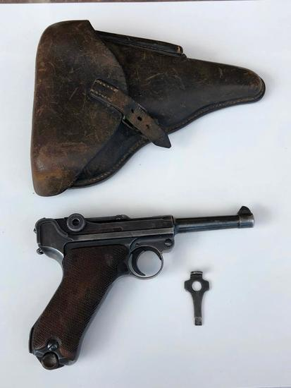 """World War II Mauser """"42"""" Code 1939 Dated Luger Semi-Automatic Pistol Model P08 9mm with 1936 Holster"""