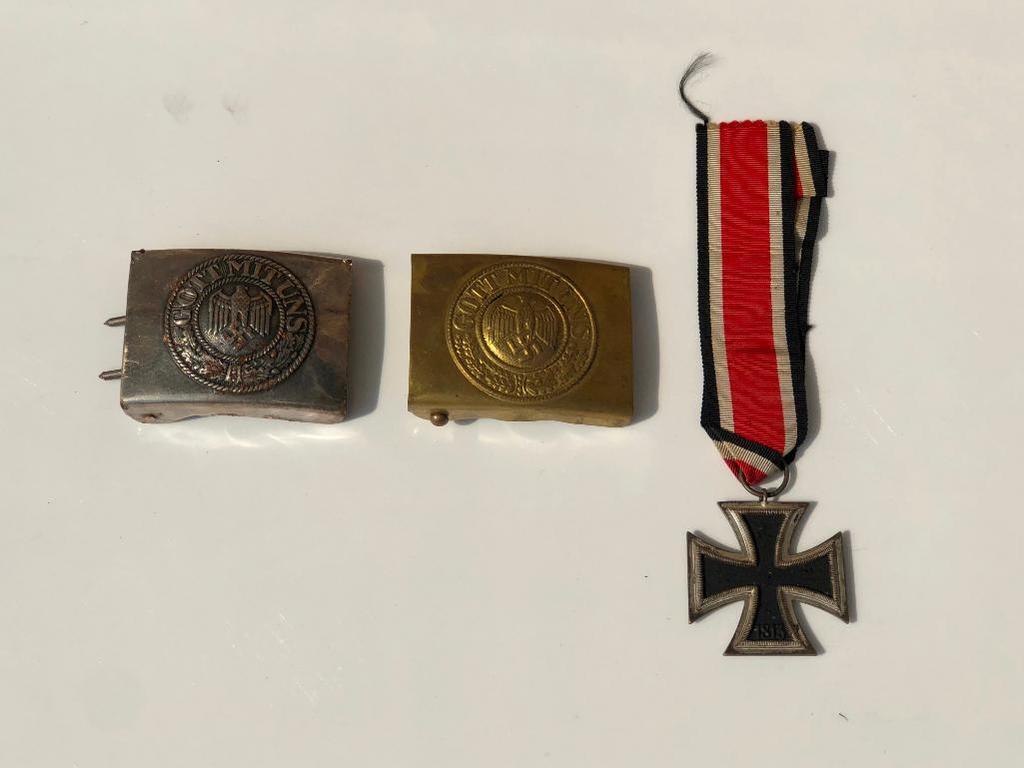 1939 Swastika Iron Cross Medal & 2 Nazi German Belt Buckles