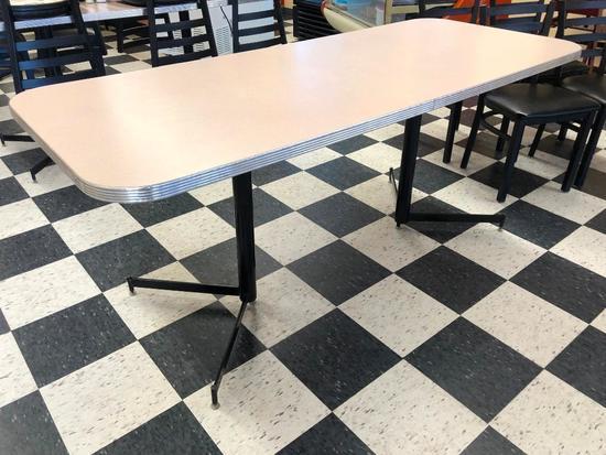 Restaurant Table, Laminate Top, Chrome Edging, Single Pedestal, 72in x 30in, Like New