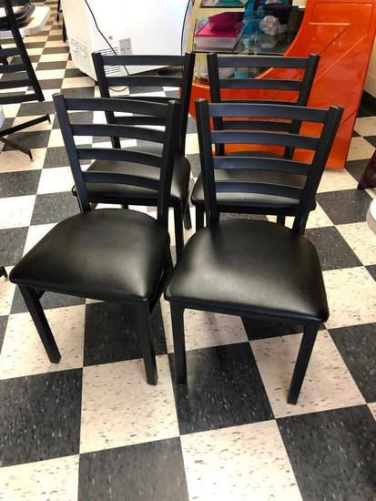 4 Restaurant Chairs: Oak Street Mfg. Metal Ladder Back, Padded Seat, Black/Black