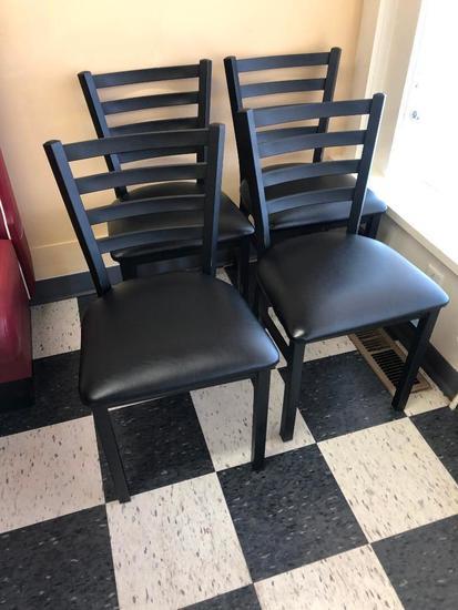 4 Restaurant Chairs: Oak Street Mfg. Metal Ladder Back, Padded Seat, Black/Black