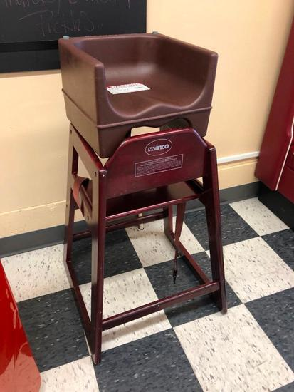Winco Wooden High Chair & Cambro Booster Seat