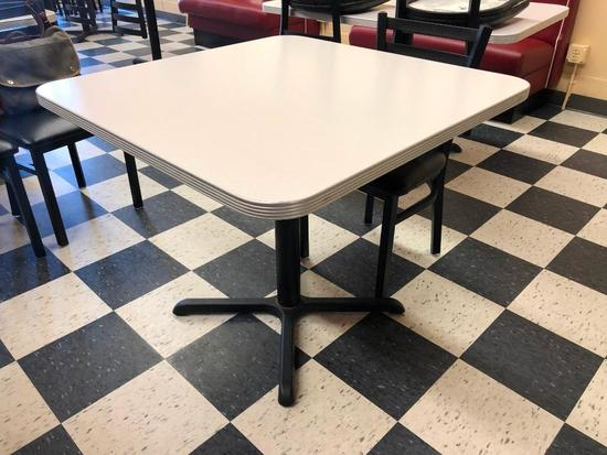 Restaurant Table, Laminate Top, Chrome Edging, Single Pedestal, 36in x 36in, Like New