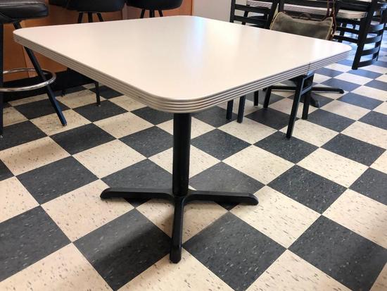 Restaurant Table, Laminate Top, Chrome Edging, Single Pedestal, 36in x 36in, Like New
