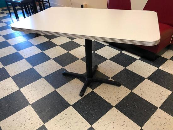 Restaurant Table, Laminate Top, Chrome Edging, Single Pedestal, 48in x 30in, Like New