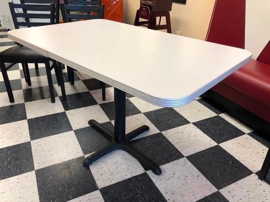 Restaurant Table, Laminate Top, Chrome Edging, Single Pedestal, 48in x 30in, Like New