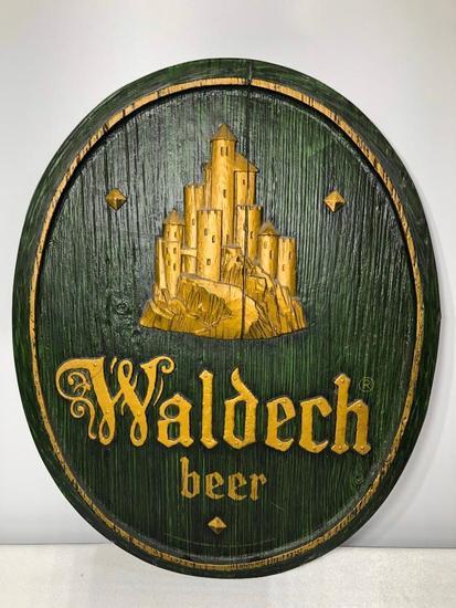 Waldech Beer Hamm's Beer 1969 Embossed Wood-Like Plastic Sign