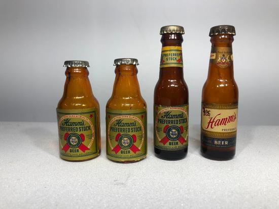 Hamm's Preferred Stock Beer Salt & Pepper Shakers, Miniature Bottles, Lot of 4