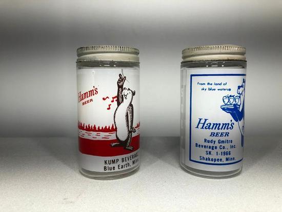 Early Hamm's Beer Glass Shakers, Lot of 2, Kump Beverage Blue Earth, Minn, Rudy Gmitro Shakopee