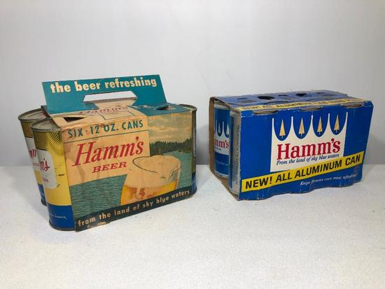 Lot of 2 Hamm's Beer Six Packs, Empty Cans (Pierced at Bottom of Can), Cardboard Sleeves