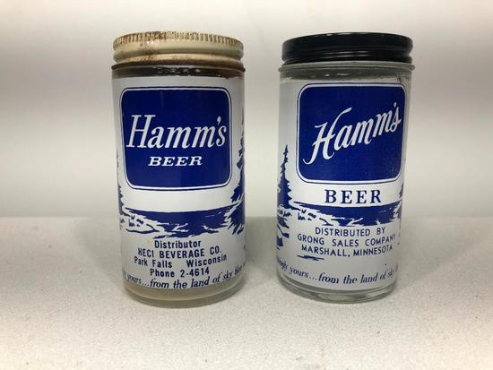 Early Hamm's Beer Glass Shakers, Lot of 2, Blue, HECI and Grong Sales, Park Falls, WI, Marshall Minn