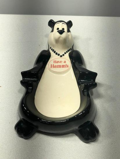 Hamm's Beer - Have a Hamm's Ashtray, Hamm's Beer Bear w/ Black Beaded Necklace