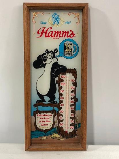 Hamm's Beer Glass Wood Framed Thermometer, Hamm's Beer Bear, Great Graphics