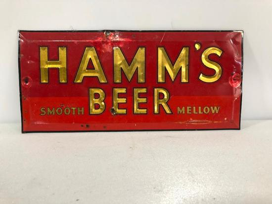 Hamm's Beer Smooth Mellow Early Beer Sign, Tin Over Cardboard