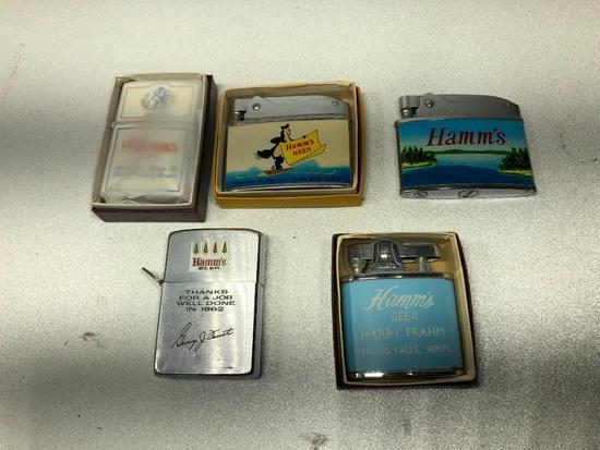 Lot of 5 Hamm's Beer Cigarette Lighters (1 is Zippo)