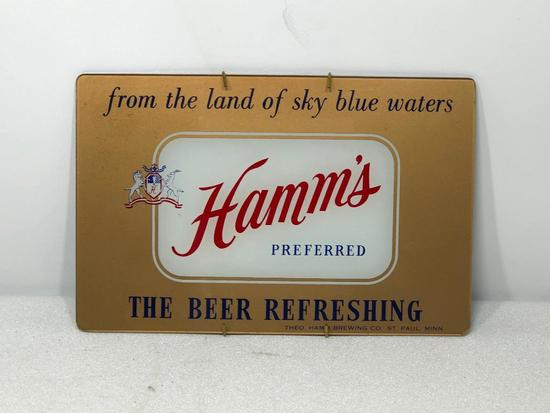 Glass Hamm's Preferred Beer, Beer Refreshing Glass Sign, 8in