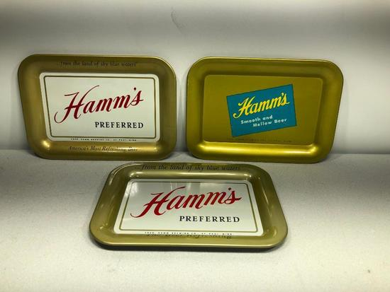 Lot of 3 Hamm's Preferred Beer Tip Trays, Metal, Smooth &Mellow
