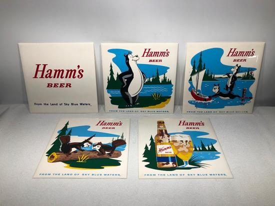 Lot of 5, Hamm's Beer 9in Tiles, Plastic, Very Clean