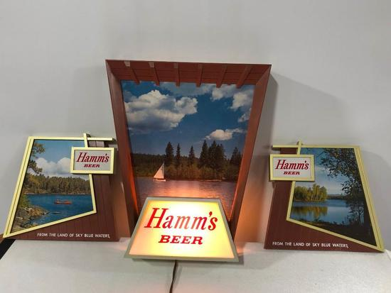 Hamm's Beer 3 Part Lighted Sign