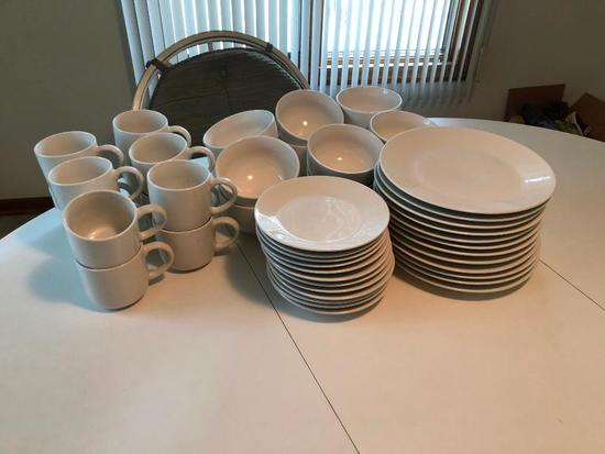 Set of White Dinnerware,12 Place Setting, Plates, Mugs, Bowls, Plates