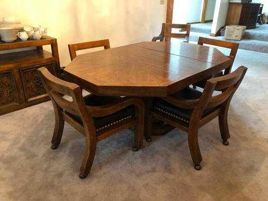 American of Martinsville Dining Room Table, 6 Chairs , 2 leaves, Very High Quality & Heavy Duty
