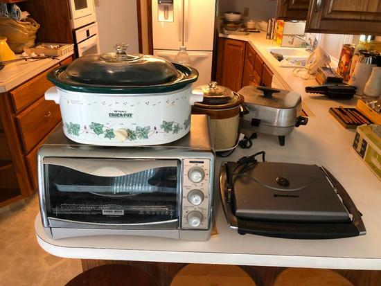 Slow Cooker, B&D Toaster oven and Bread Man Panini Maker