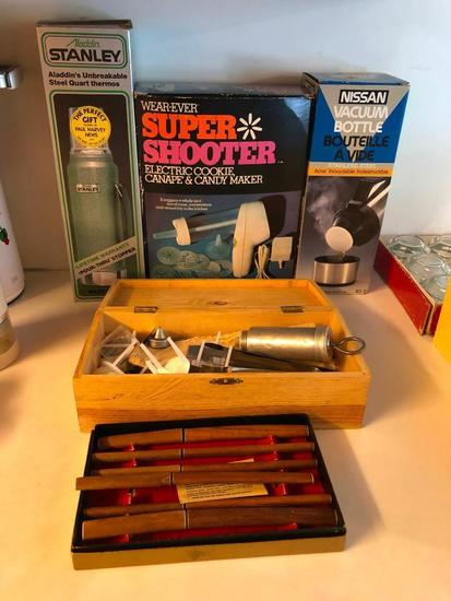 2 Thermos', Super Shooter Cookie and Candy Maker and a Set of Teak Knives