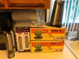 2 Vintage Fondue Sets, Salt and Pepper Mills, Electiric Can Opener and Perfume Bottle