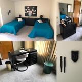 Contents of Bedroom: Two Twin Beds, Dresser, Desk, Chair, Art, Lamps, Mirror