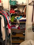 Contents of Closet: Womens Shoes, Bench, Blankets, Handbags, Clothes, Belts, Scarves