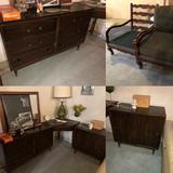 Antique Furniture Lot: 2 Chairs, Corner Desk, Dresser, Record Cabinet, Chest of Drawers, Retro Lamp
