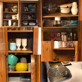Contents of 3 Cabinets Knife Sharpener, Cheese Knives, German Punch Bowl, Cutting Boards