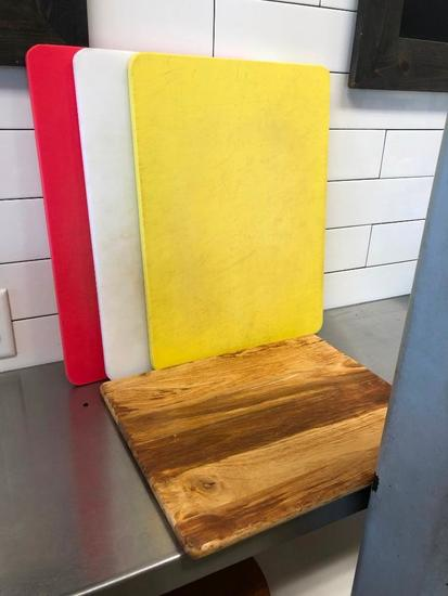 Cutting Boards, 3 NSF Carlisle and One Wooden, 15in x 20in
