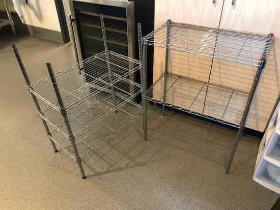 Lot of 2, Small NSF Wire Stationery Racks - 13in x 23in x 30in