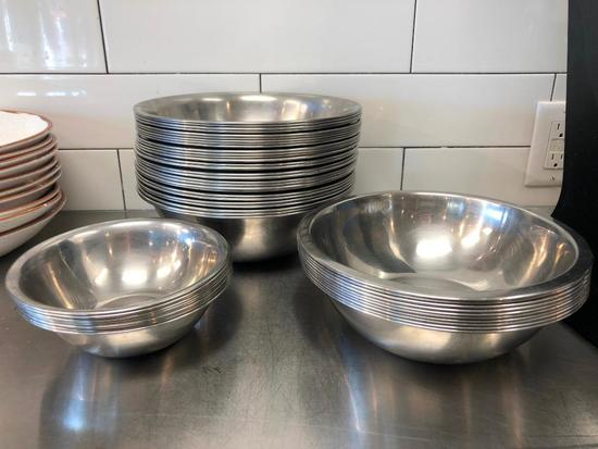 Lot of 47 Stainless Steel Bowls, 3 Sizes, NSF by Vollrath, 10in, 9in, 7in Wide