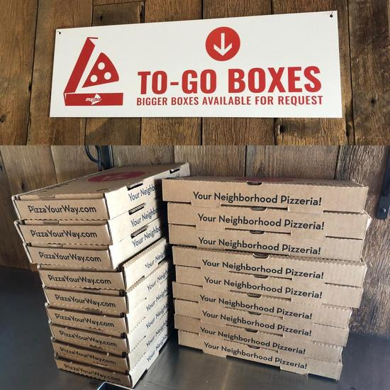 Pizza To-Go Boxes Sign and 18 Rectangular Pizza Boxes