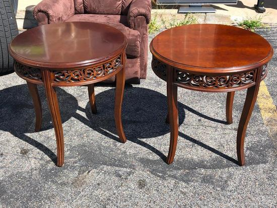 Matching End Tables, Round, Solid Wood