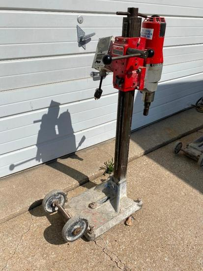 Milwaukee Diamond Coring Rig w/ Large Base Stand, Dymodrill 2in to 10in 1-1/4in 7 Spindle Thread