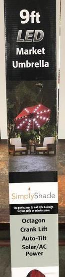 Simply Shade 9 ft. LED Market Umbrella Model: UA38278ZTRLD-LS