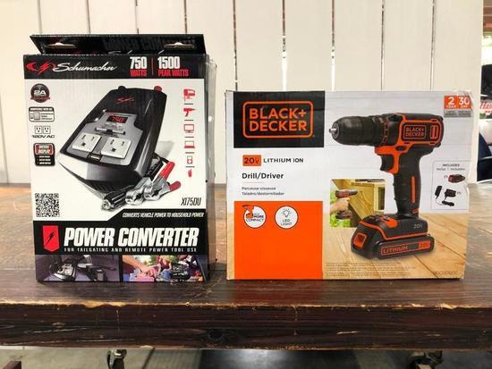 Schumacher Power Converter 750 Watts / Black & Decker 20V Drill/Driver