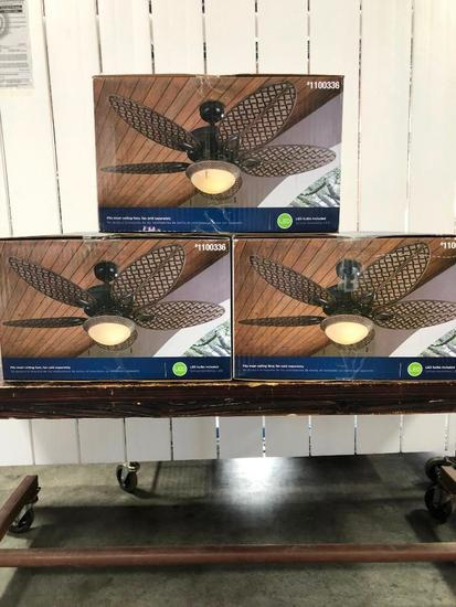 Harbor Breeze Ceiling Fan Light Kits (3) Bronze Finish White Frosted Glass