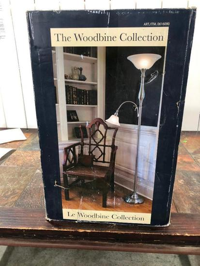 The Woodbine Collection Brushed Nickel Repeat Floor Lamp w/ Side Light