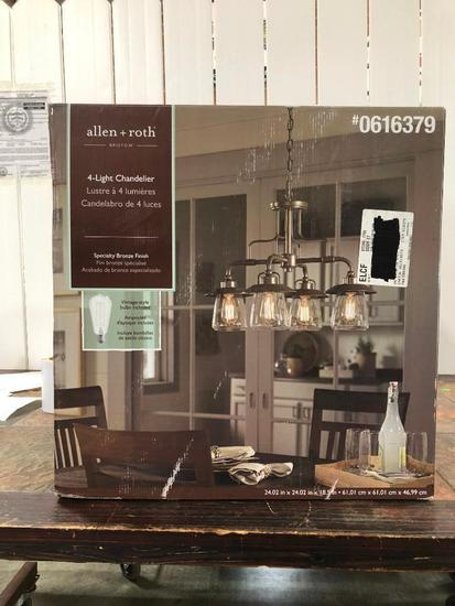 Allen + Roth 4-Light Chandelier Specialty Bronze Finish / Clear Glass Shades